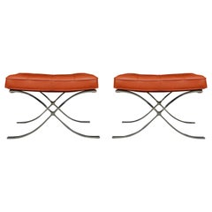 Pair of Mid-Century Modern Knoll Barcelona Cognac Leather Bench Set or Ottomans