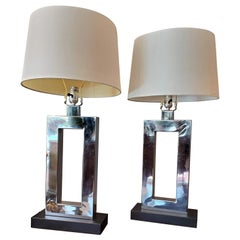 Pair of Mid-Century Modern Lamps, Chrome and Black Bases