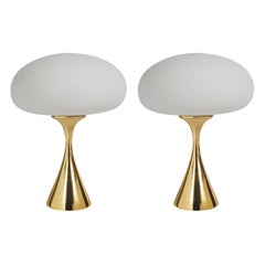 Pair of Mid-Century Modern Laurel Mushroom Table Lamps in Brass