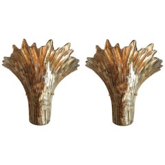 Pair of Mid-Century Modern Leaf Gold Murano Glass Sconces Attributed to Barovier