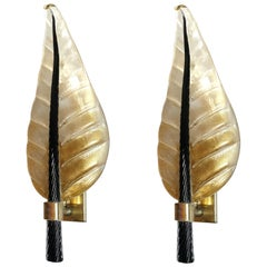 Pair of Mid-Century Modern Leaf Murano Glass Sconces, by Barovier & Toso 1970s