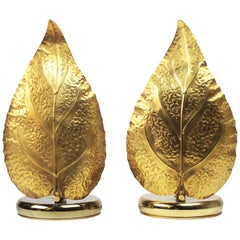 Pair of Mid-Century Modern Leaf-shaped Brass Table Lamps, Italy, 1970s