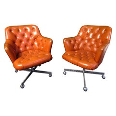 Pair of Mid-Century Modern Leather and Chrome Rolling Armchairs