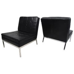 Pair of Mid-Century Modern Leather Slipper Lounge Chairs by Knoll