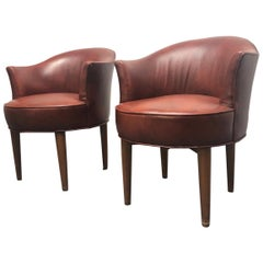 Pair of Edward Wormley Leather Swivel Chairs