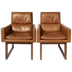 Pair of Mid-Century Modern Leather Upholstered Armchairs by Harvey Probber