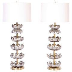 Pair of Mid-Century Modern Lotus Leaf Table Lamps