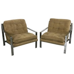 Pair of Mid-Century Modern Lounge Chairs by Cy Mann Flat Z Bar Chrome Cube