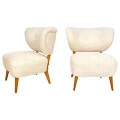 Pair of Mid-Century Modern Lounge Chairs by Otto Schultz in Teddy Fur, 1950s