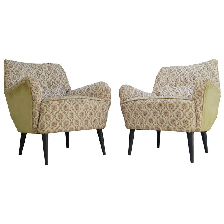 Pair of Mid-Century Modern Lounge Chairs Manner of Gio Ponti