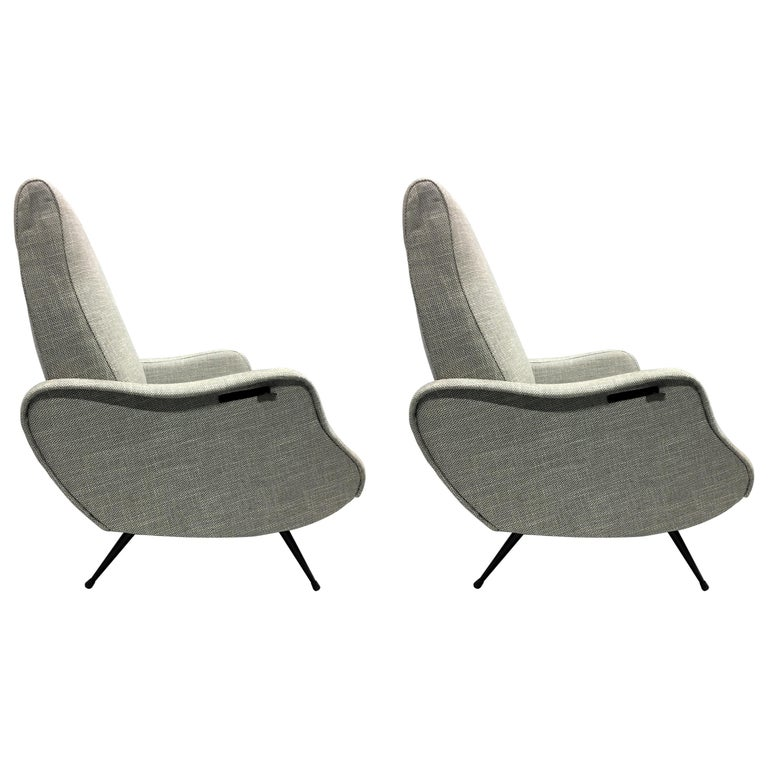 Pair of Mid-Century Modern Lounge Chairs/ Recliners Style Marco Zanuso, Italy For Sale