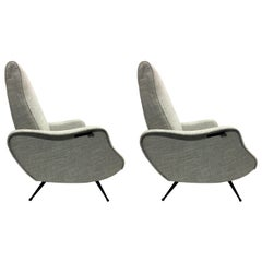 Pair of Mid-Century Modern Lounge Chairs/ Recliners Style Marco Zanuso, Italy