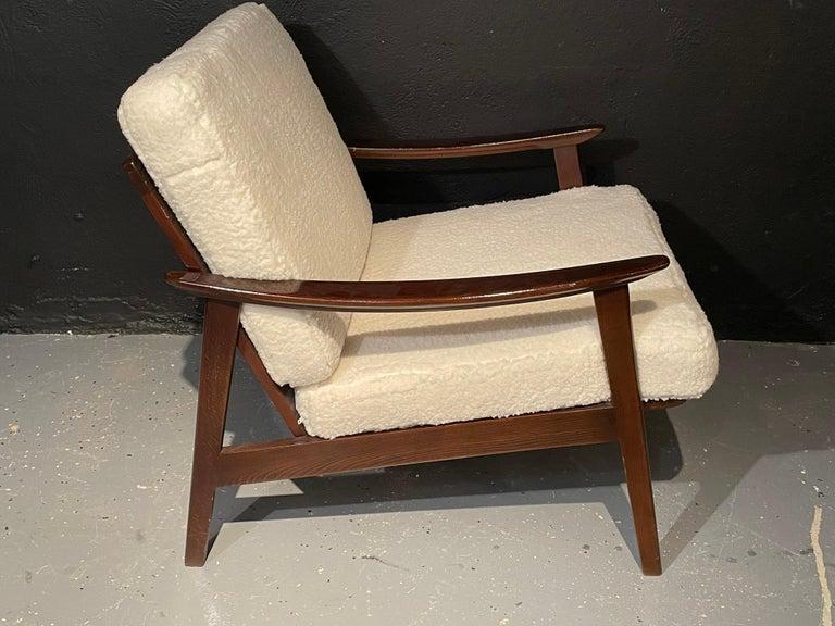 Upholstery Pair of Mid-Century Modern Lounge Chairs Style of Ib Kofod-Larsen Plush Sherpa
