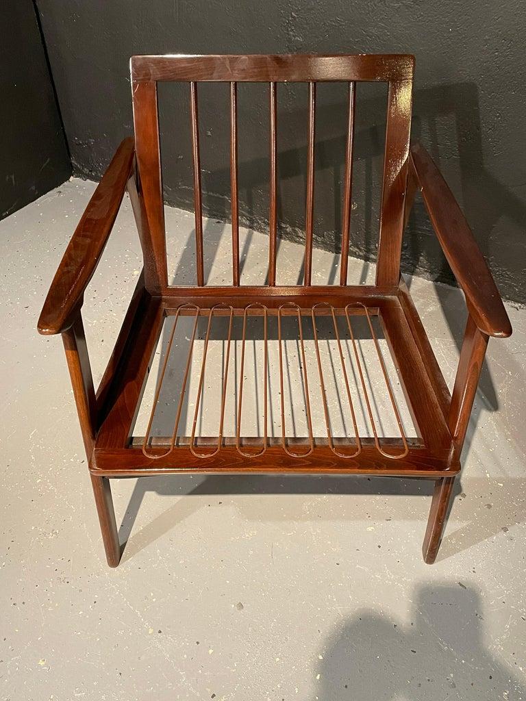 Pair of Mid-Century Modern Lounge Chairs Style of Ib Kofod-Larsen Plush Sherpa 1
