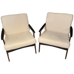 Pair of Mid-Century Modern Lounge Chairs Style of Ib Kofod-Larsen Plush Sherpa