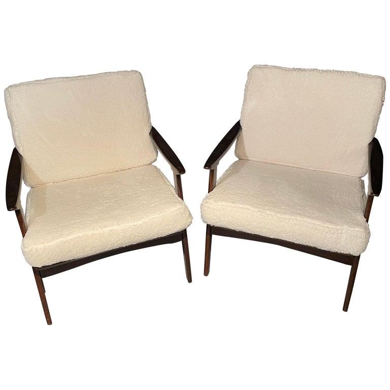Pair of Mid-Century Modern Lounge Chairs Style of Ib Kofod-Larsen Plush Sherpa