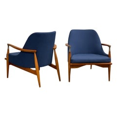 Pair of Mid-Century Modern Lounge Chairs style of lb Kofod-Larsen