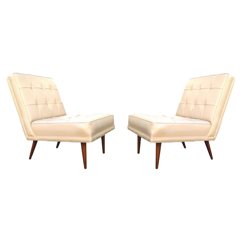 Pair of Mid-Century Modern Lounge Slipper Chairs Manner of Paul McCobb