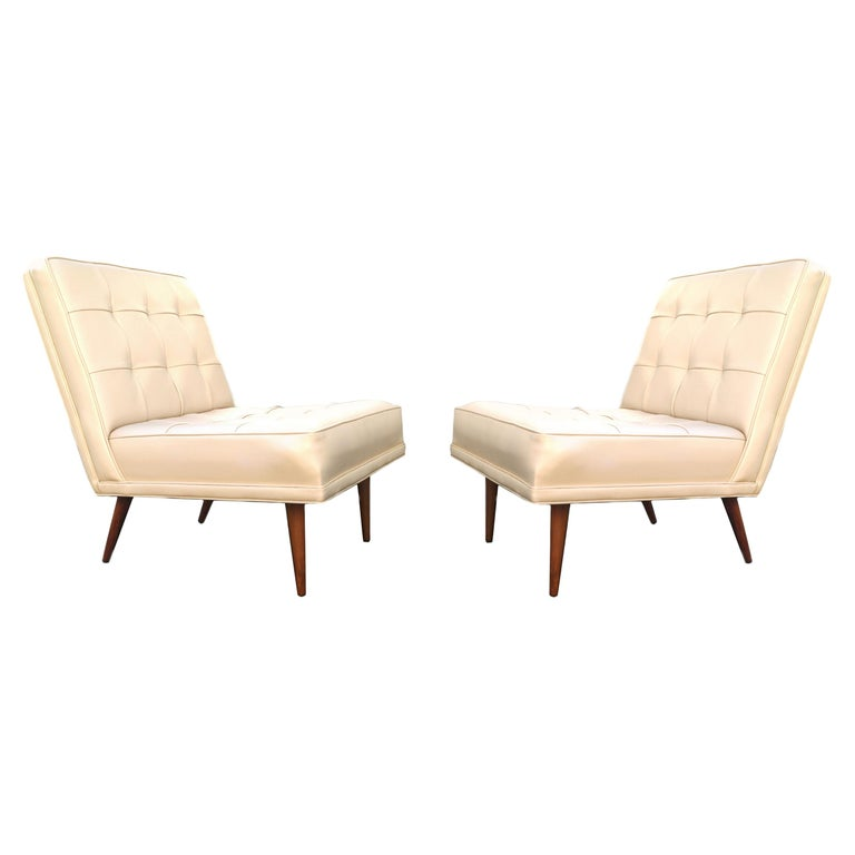 Pair of Mid-Century Modern Lounge Slipper Chairs Manner of Paul McCobb For Sale