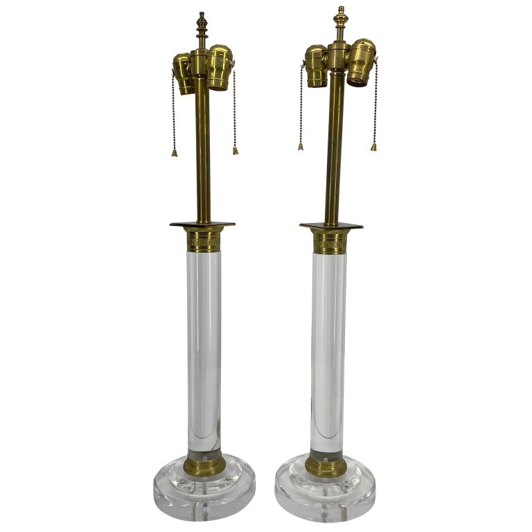 American Pair of Mid-Century Modern Lucite and Bronze Table Lamps For Sale