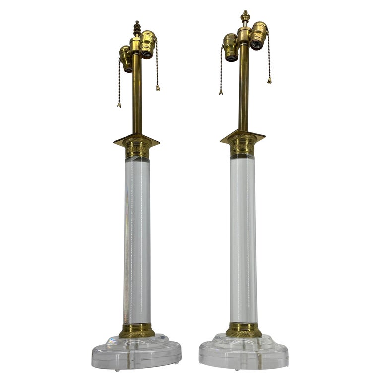 Pair of Mid-Century Modern Lucite and Bronze Table Lamps For Sale