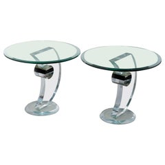 Pair of Mid-Century Modern Lucite & Chrome Side Tables, 20th Century