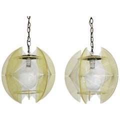 Pair of Mid-Century Modern Lucite & Nylon String Hanging Chain Pendant Lamps