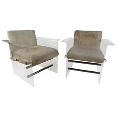 Pair of Mid-Century Modern Lucite Pace Style Lounge Chairs
