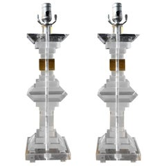 Pair of Mid-Century Modern Lucite Table Lamps