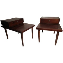Pair of Mid-Century Modern Mahogany End Tables by Merton Gershun