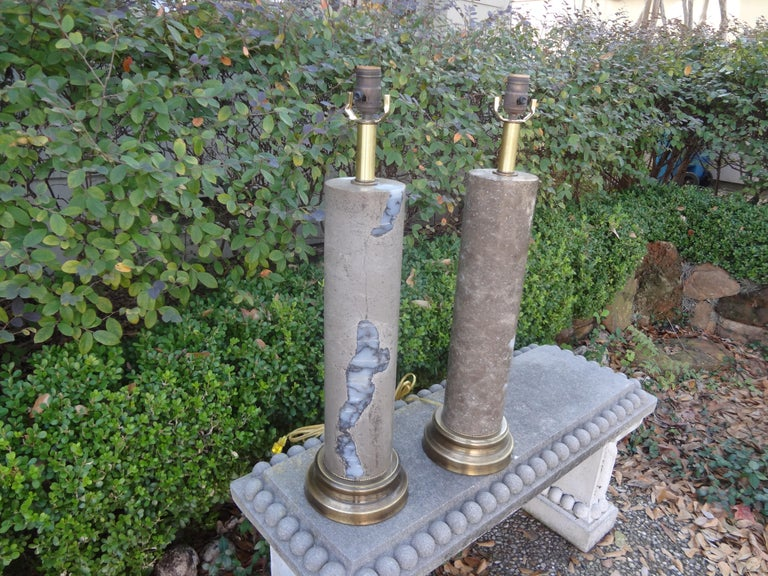 Pair of Mid-Century Modern Marble Column Lamps For Sale 6