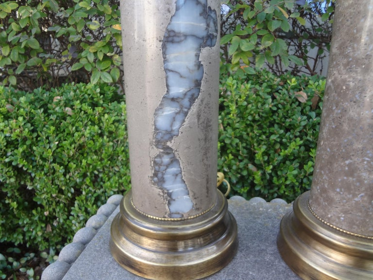 Hollywood Regency Pair of Mid-Century Modern Marble Column Lamps For Sale
