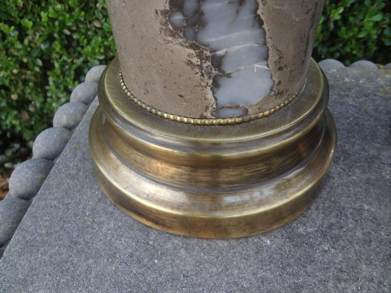 Pair of Mid-Century Modern Marble Column Lamps For Sale 1