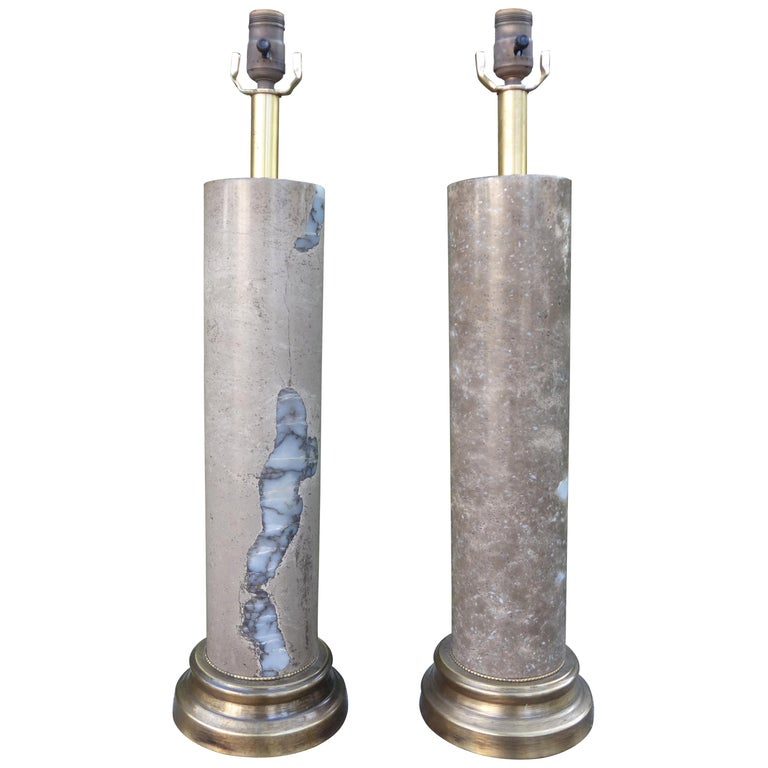 Pair of Mid-Century Modern Marble Column Lamps For Sale