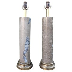 Pair of Mid-Century Modern Marble Column Lamps