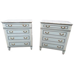 Pair of Mid-Century Modern Marble Top Commodes