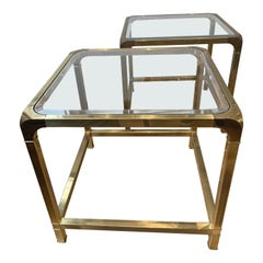 Pair of Mid-Century Modern Mastercraft Brass Side Tables, with Inset Glass Top