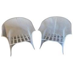 Pair of Mid-Century Modern Metal Mesh Armchairs