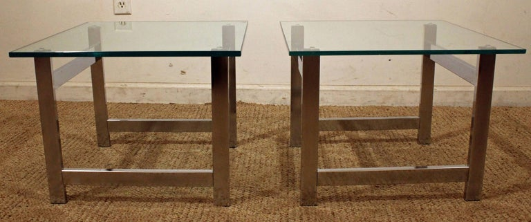 American Pair of Mid-Century Modern Milo Baughman Chrome & Glass End Tables For Sale