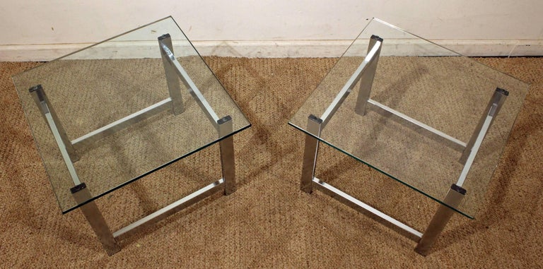 Late 20th Century Pair of Mid-Century Modern Milo Baughman Chrome & Glass End Tables For Sale