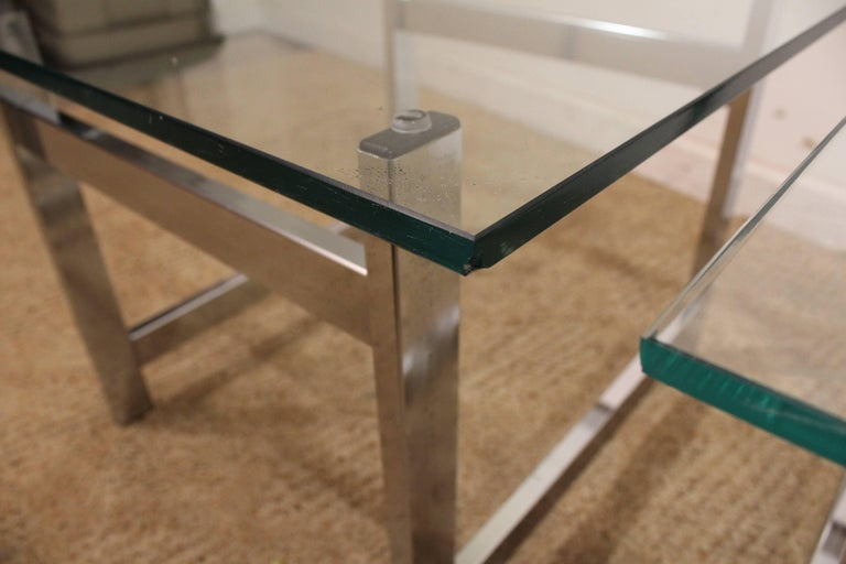 Pair of Mid-Century Modern Milo Baughman Chrome & Glass End Tables For Sale 1