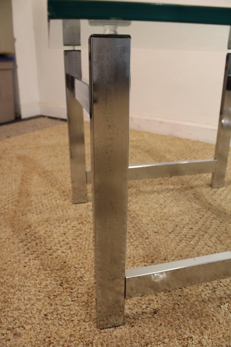 Pair of Mid-Century Modern Milo Baughman Chrome & Glass End Tables For Sale 3