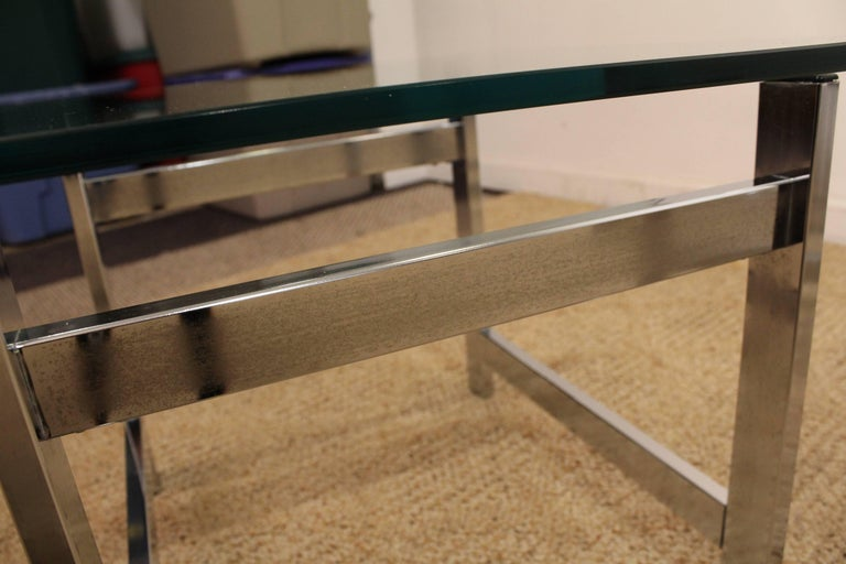 Pair of Mid-Century Modern Milo Baughman Chrome & Glass End Tables For Sale 4