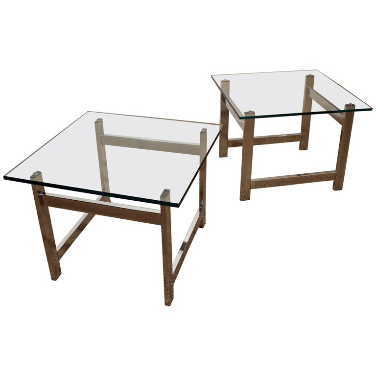Pair of Mid-Century Modern Milo Baughman Chrome & Glass End Tables For Sale