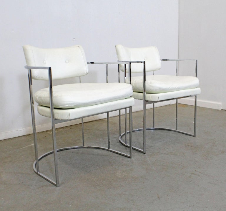 American Pair of Mid-Century Modern Milo Baughman for Thayer Coggin Chrome Dining Chairs For Sale