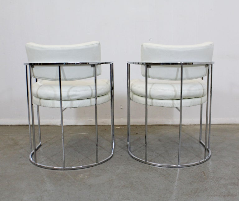 Late 20th Century Pair of Mid-Century Modern Milo Baughman for Thayer Coggin Chrome Dining Chairs For Sale