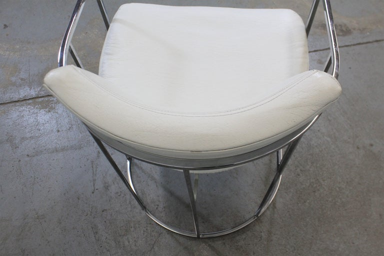 Pair of Mid-Century Modern Milo Baughman for Thayer Coggin Chrome Dining Chairs For Sale 1
