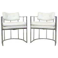Pair of Mid-Century Modern Milo Baughman for Thayer Coggin Chrome Dining Chairs