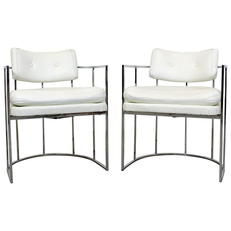 Pair of Mid-Century Modern Milo Baughman for Thayer Coggin Chrome Dining Chairs For Sale