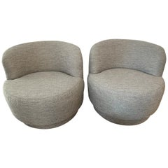 Pair of Mid-Century Modern Gray Swivel Chairs